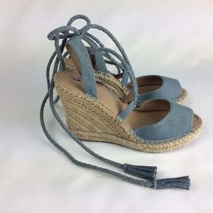 Merona Blue Denim Espadrille Ankle Wrap Wedge Sz 7